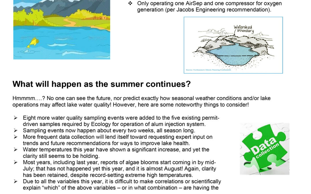 Information from Spokane County on the water quality this summer: